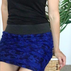 Charlotte Russe Blue Lace Mini Skirt